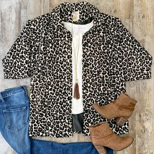Tulle Womens Leopard Button Down Blazer Jacket